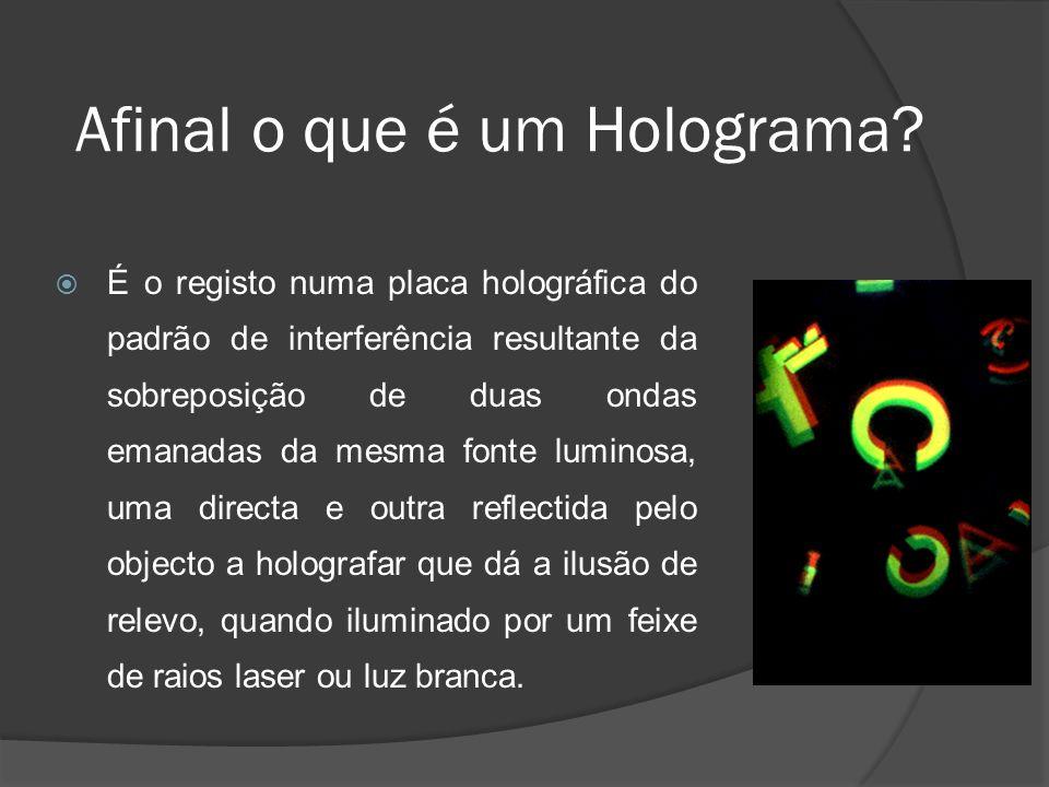 Afinal o que é um Holograma? É o registo numa placa holográfica do padrão de interferência resultante da sobreposição de duas ondas emanadas da mesma