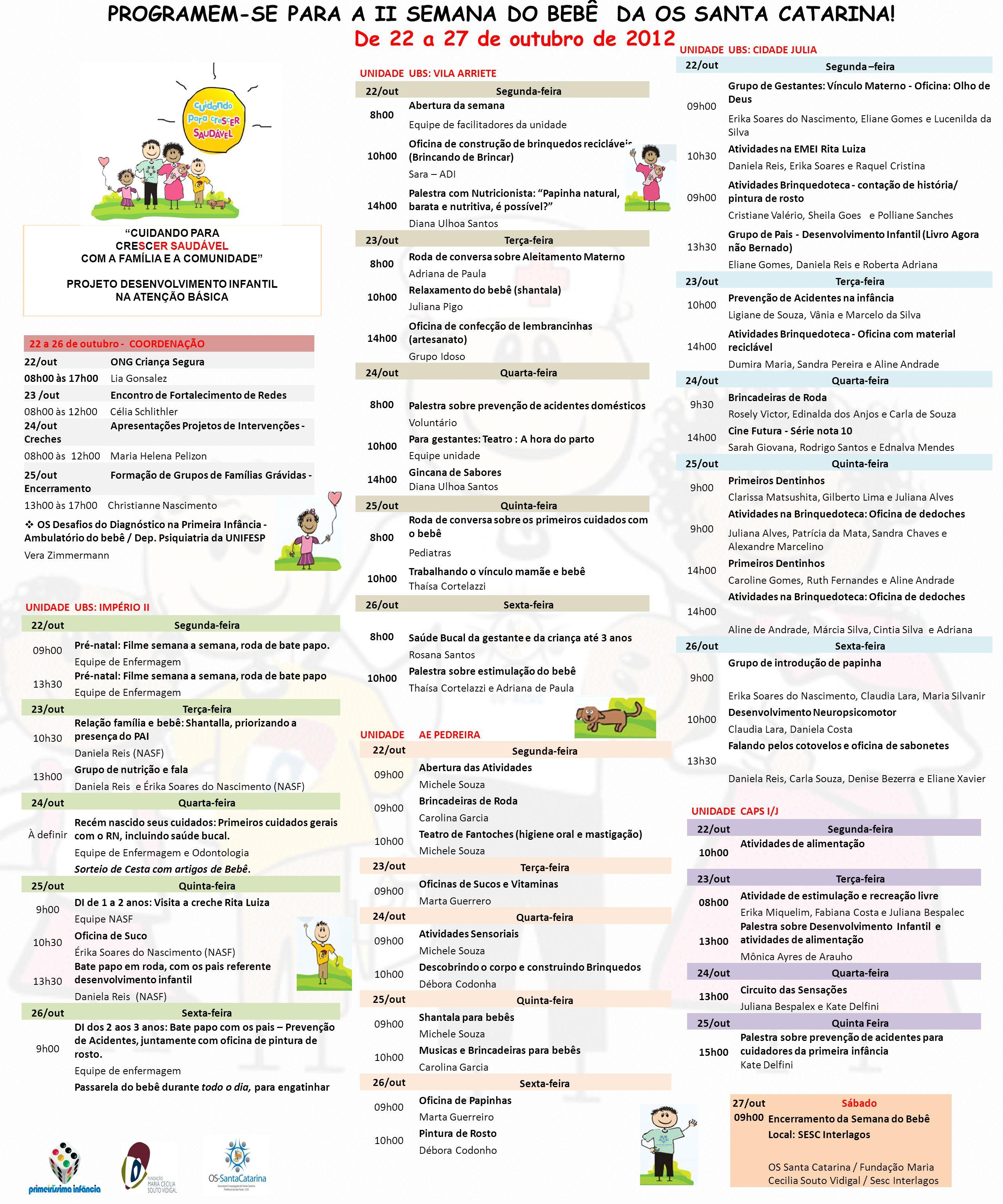 PROGRAMEM-SE PARA A II SEMANA DO BEBÊ DA OS SANTA CATARINA! De 22 a 27 de outubro de 2012 CUIDANDO PARA CRESCER SAUDÁVEL COM A FAMÍLIA E A COMUNIDADE
