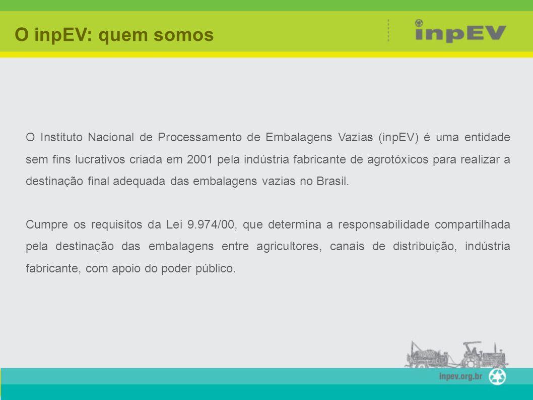 O Instituto Nacional de Processamento de Embalagens Vazias (inpEV) é uma entidade sem fins lucrativos criada em 2001 pela indústria fabricante de agro