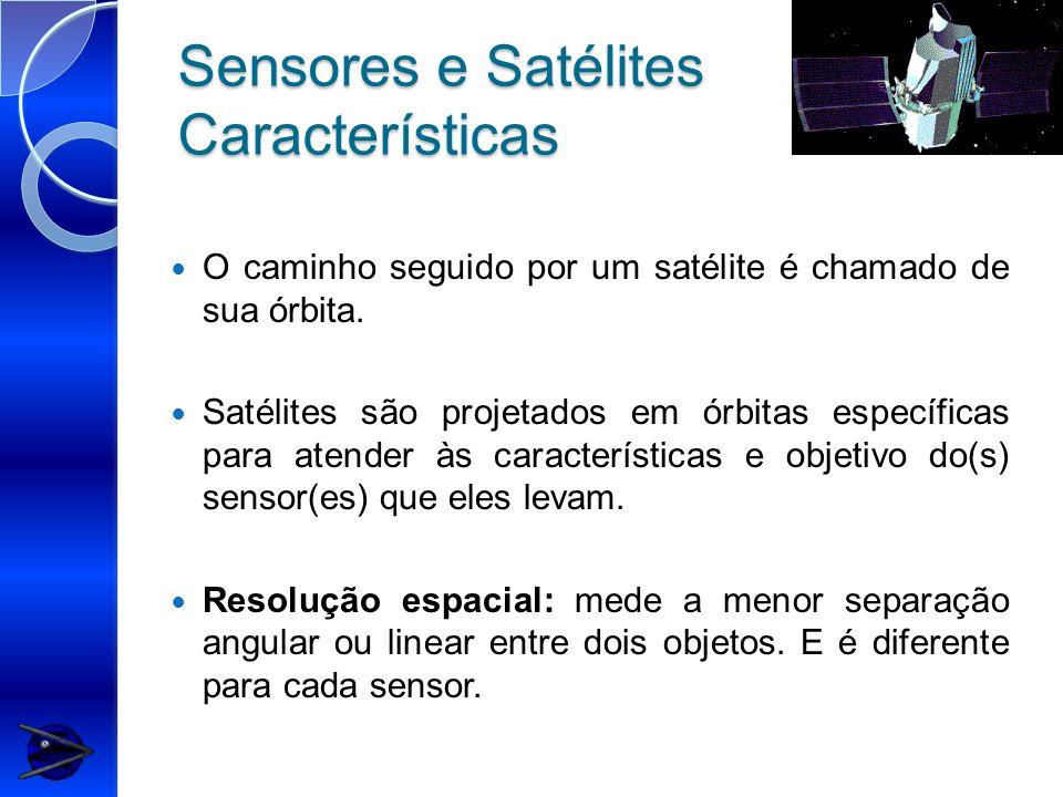 Sensores e Satélites Características O caminho seguido por um satélite é chamado de sua órbita. Satélites são projetados em órbitas específicas para a