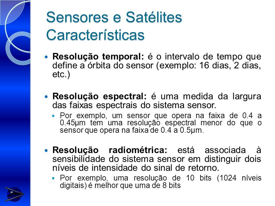 Sensores e Satélites Características Resolução temporal: é o intervalo de tempo que define a órbita do sensor (exemplo: 16 dias, 2 dias, etc.) Resoluç
