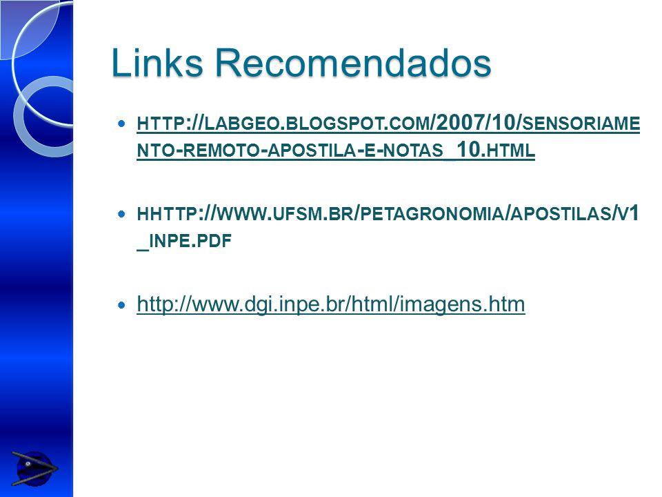 Links Recomendados HTTP :// LABGEO. BLOGSPOT. COM /2007/10/ SENSORIAME NTO - REMOTO - APOSTILA - E - NOTAS _10. HTML HHTTP :// WWW. UFSM. BR / PETAGRO