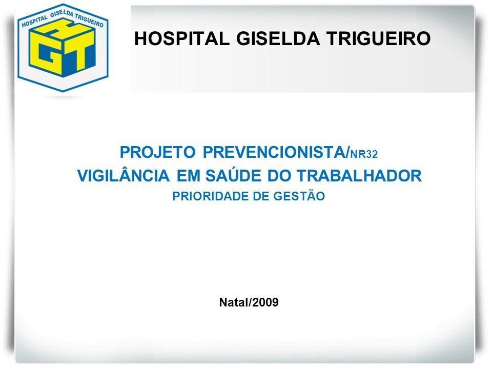 HOSPITAL GISELDA TRIGUEIRO PROJETO PREVENCIONISTA/ NR32 VIGILÂNCIA EM SAÚDE DO TRABALHADOR PRIORIDADE DE GESTÃO Natal/2009