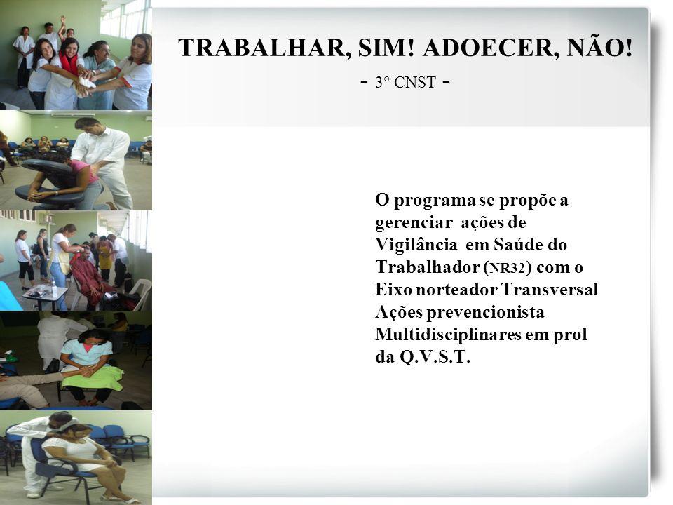 TRABALHAR, SIM! ADOECER, NÃO! - 3° CNST - O programa se propõe a gerenciar ações de Vigilância em Saúde do Trabalhador ( NR32 ) com o Eixo norteador T