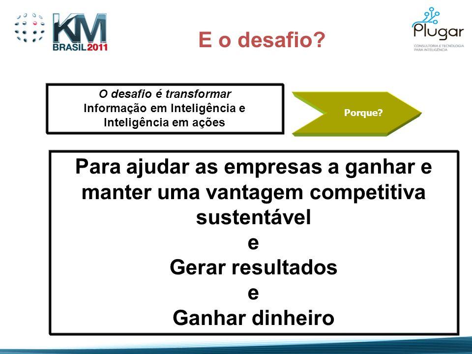 O desafio é transformar Informação em Inteligência e Inteligência em ações E o desafio? Porque? Para ajudar as empresas a ganhar e manter uma vantagem