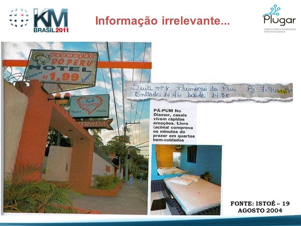 Informação irrelevante... FONTE: ISTOÉ – 19 AGOSTO 2004