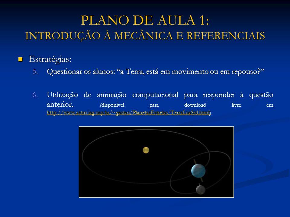 PLANO DE AULA 1: INTRODUÇÃO À MECÂNICA E REFERENCIAIS Estratégias: Estratégias: 5.Questionar os alunos: a Terra, está em movimento ou em repouso? 6. h