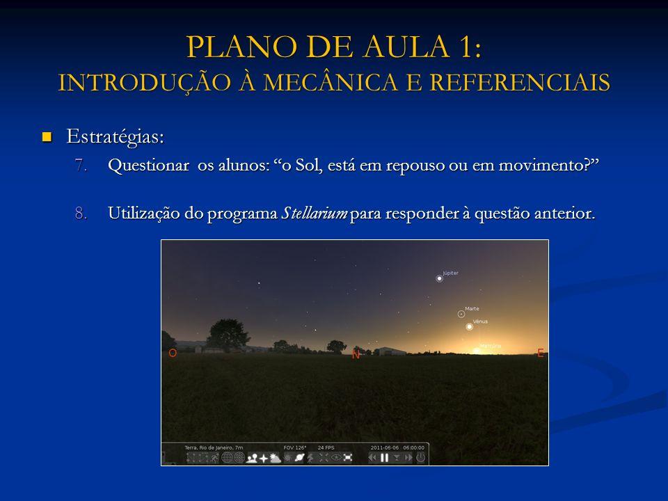 PLANO DE AULA 1: INTRODUÇÃO À MECÂNICA E REFERENCIAIS Estratégias: Estratégias: 7.Questionar os alunos: o Sol, está em repouso ou em movimento? 8.Util