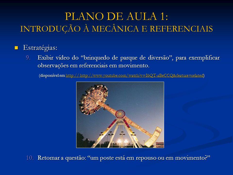 PLANO DE AULA 1: INTRODUÇÃO À MECÂNICA E REFERENCIAIS Estratégias: Estratégias: 9.Exibir vídeo do brinquedo de parque de diversão, para exemplificar o