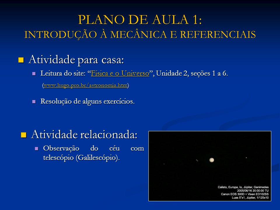 PLANO DE AULA 1: INTRODUÇÃO À MECÂNICA E REFERENCIAIS Atividade para casa: Atividade para casa: Leitura do site: Física e o Universo, Unidade 2, seçõe