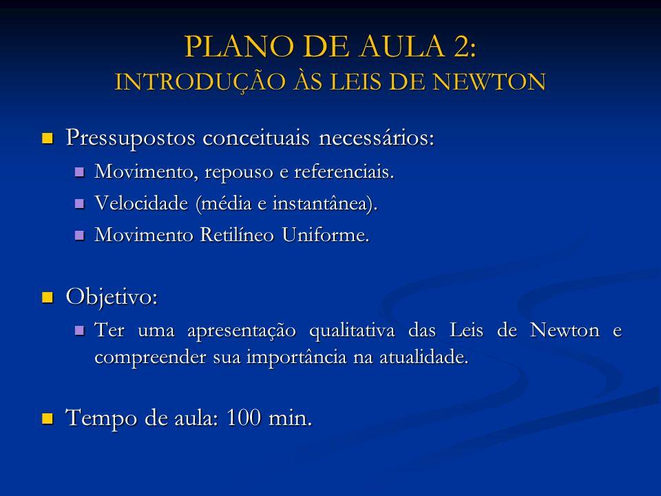 PLANO DE AULA 2: INTRODUÇÃO ÀS LEIS DE NEWTON Pressupostos conceituais necessários: Pressupostos conceituais necessários: Movimento, repouso e referen