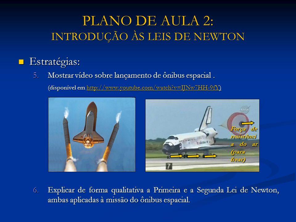 PLANO DE AULA 2: INTRODUÇÃO ÀS LEIS DE NEWTON Estratégias: Estratégias: 5.Mostrar vídeo sobre lançamento de ônibus espacial. (disponível em http://www