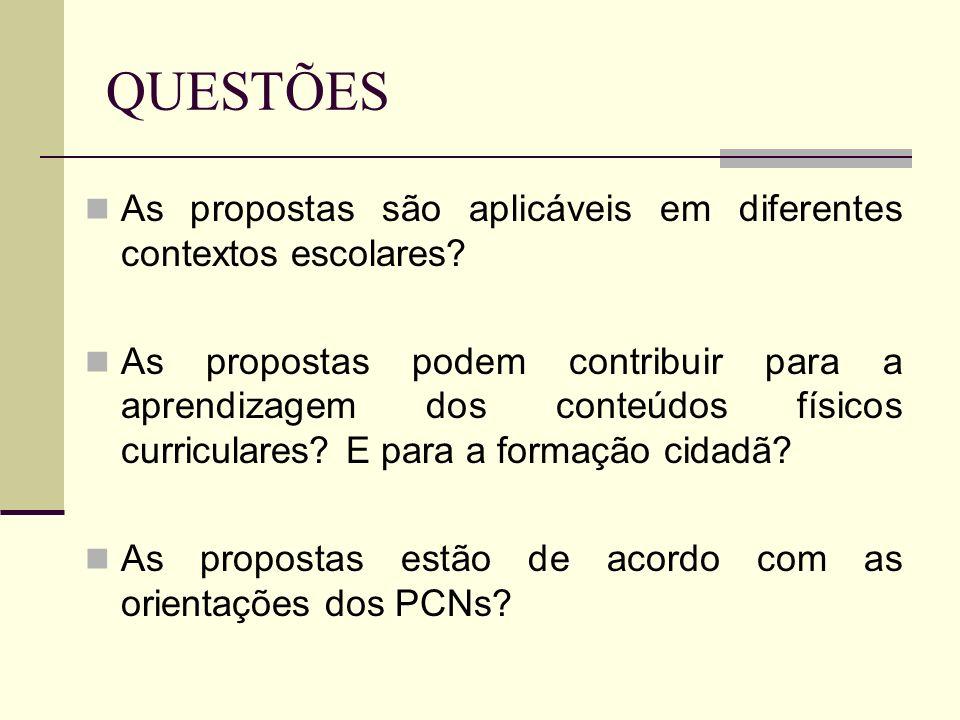 QUESTÕES As propostas são aplicáveis em diferentes contextos escolares? As propostas podem contribuir para a aprendizagem dos conteúdos físicos curric