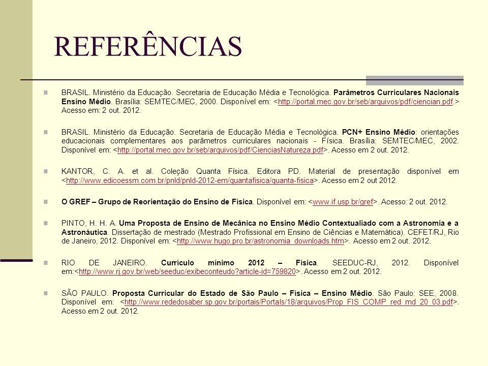 REFERÊNCIAS BRASIL. Ministério da Educação. Secretaria de Educação Média e Tecnológica. Parâmetros Curriculares Nacionais Ensino Médio. Brasília: SEMT