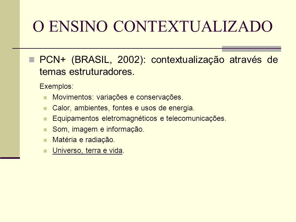 O ENSINO CONTEXTUALIZADO PCN+ (BRASIL, 2002): contextualização através de temas estruturadores. Exemplos: Movimentos: variações e conservações. Calor,