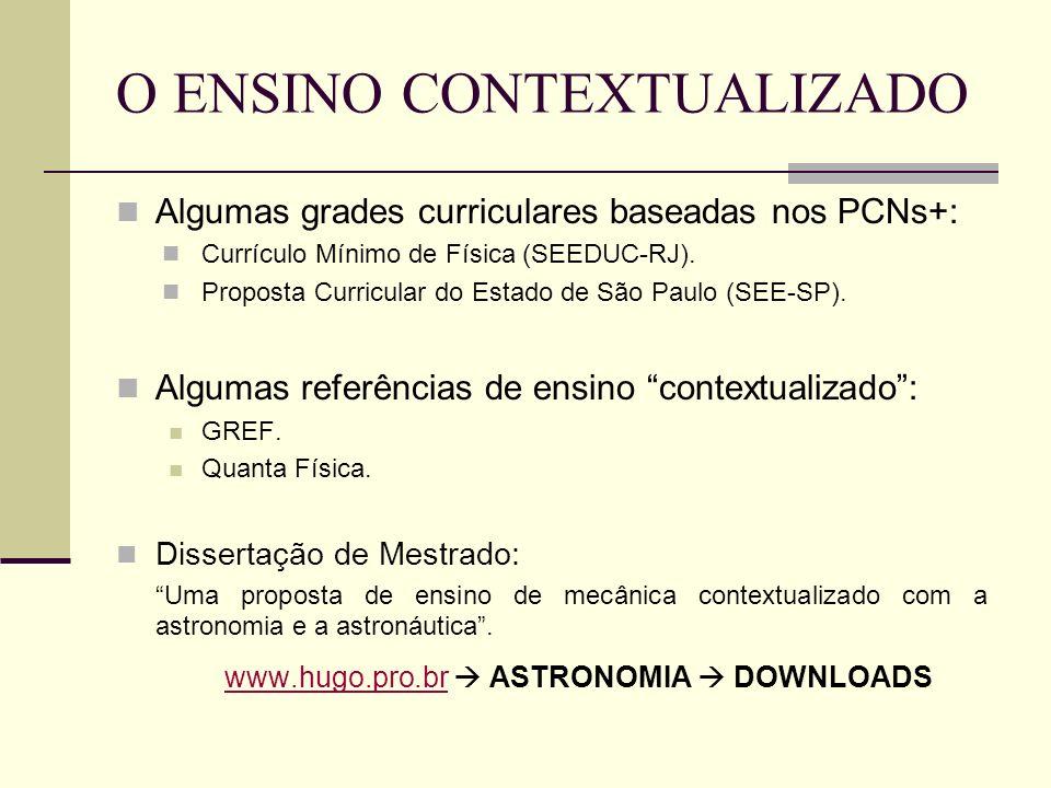 O ENSINO CONTEXTUALIZADO Algumas grades curriculares baseadas nos PCNs+: Currículo Mínimo de Física (SEEDUC-RJ). Proposta Curricular do Estado de São