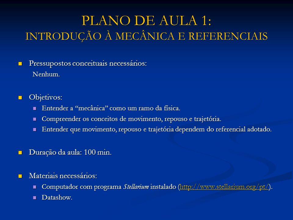 PLANO DE AULA 1: INTRODUÇÃO À MECÂNICA E REFERENCIAIS Pressupostos conceituais necessários: Pressupostos conceituais necessários:Nenhum. Objetivos: Ob