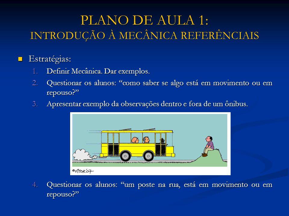 PLANO DE AULA 1: INTRODUÇÃO À MECÂNICA REFERÊNCIAIS Estratégias: Estratégias: 1.Definir Mecânica. Dar exemplos. 2.Questionar os alunos: como saber se
