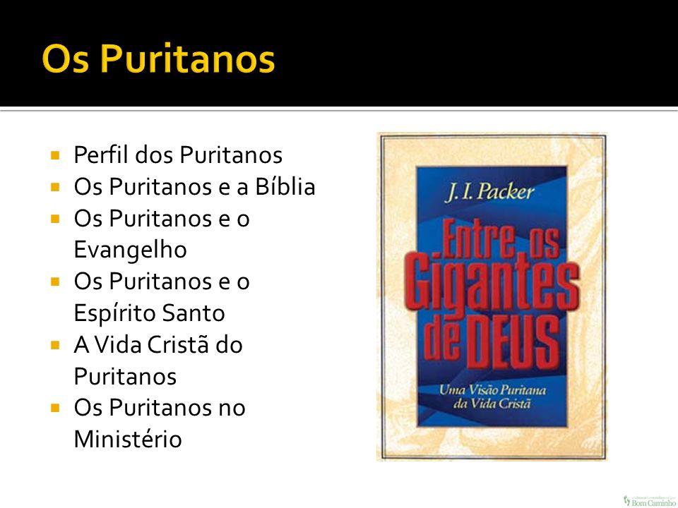 Perfil dos Puritanos Os Puritanos e a Bíblia Os Puritanos e o Evangelho Os Puritanos e o Espírito Santo A Vida Cristã do Puritanos Os Puritanos no Min