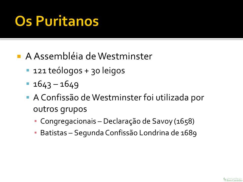 A Assembléia de Westminster 121 teólogos + 30 leigos 1643 – 1649 A Confissão de Westminster foi utilizada por outros grupos Congregacionais – Declaraç