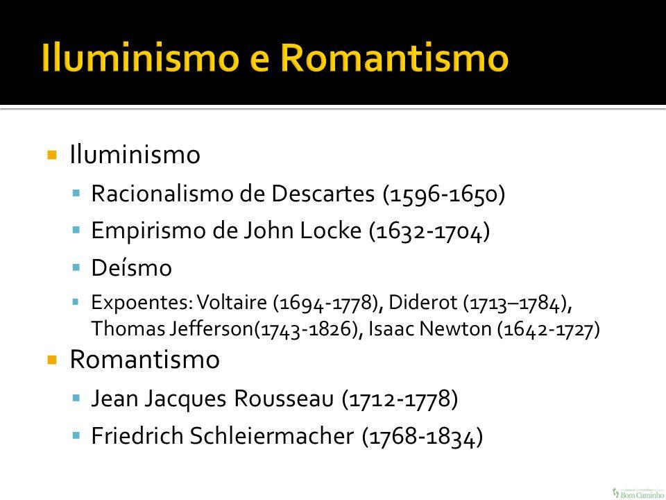 Iluminismo Racionalismo de Descartes (1596-1650) Empirismo de John Locke (1632-1704) Deísmo Expoentes: Voltaire (1694-1778), Diderot (1713–1784), Thom