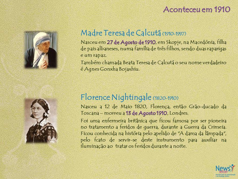 Madre Teresa de Calcutá (1910-1997) 27 de Agosto de 1910 Nasceu em 27 de Agosto de 1910, em Skopje, na Macedónia, filha de pais albaneses, numa famíli