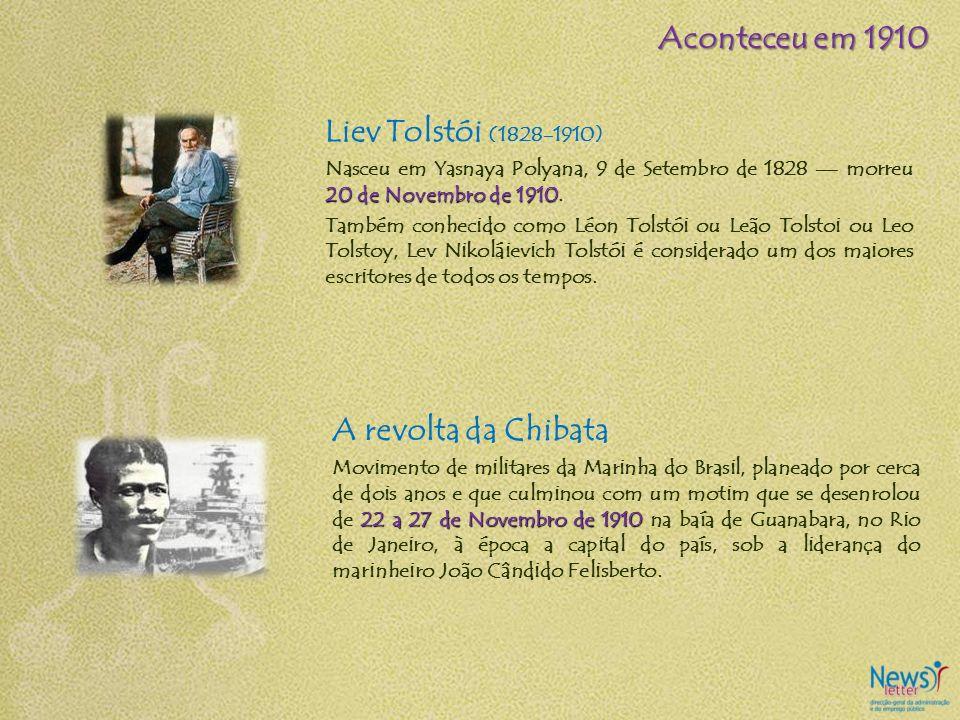 Liev Tolstói (1828-1910) 20 de Novembro de 1910 Nasceu em Yasnaya Polyana, 9 de Setembro de 1828 morreu 20 de Novembro de 1910. Também conhecido como