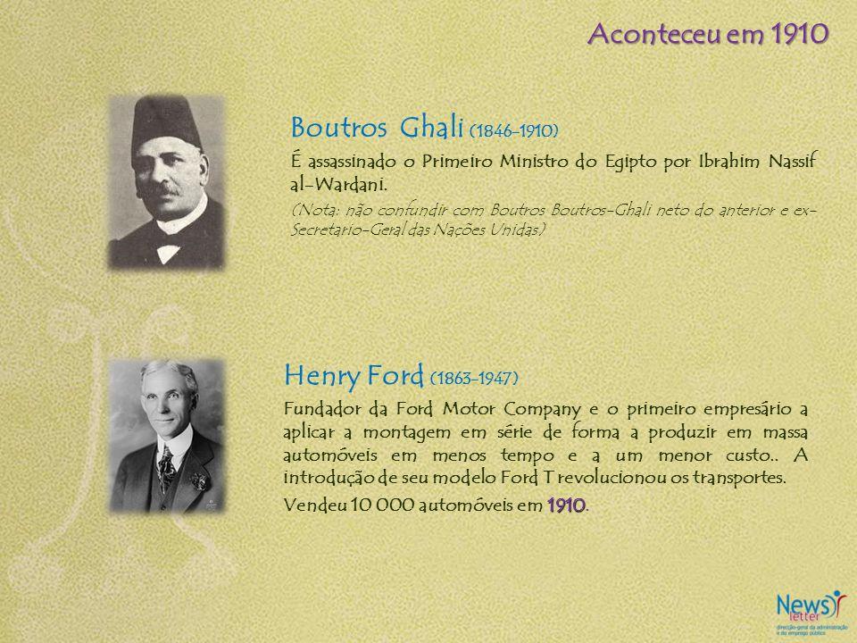 Boutros Ghali (1846-1910) É assassinado o Primeiro Ministro do Egipto por Ibrahim Nassif al-Wardani. (Nota: não confundir com Boutros Boutros-Ghali ne