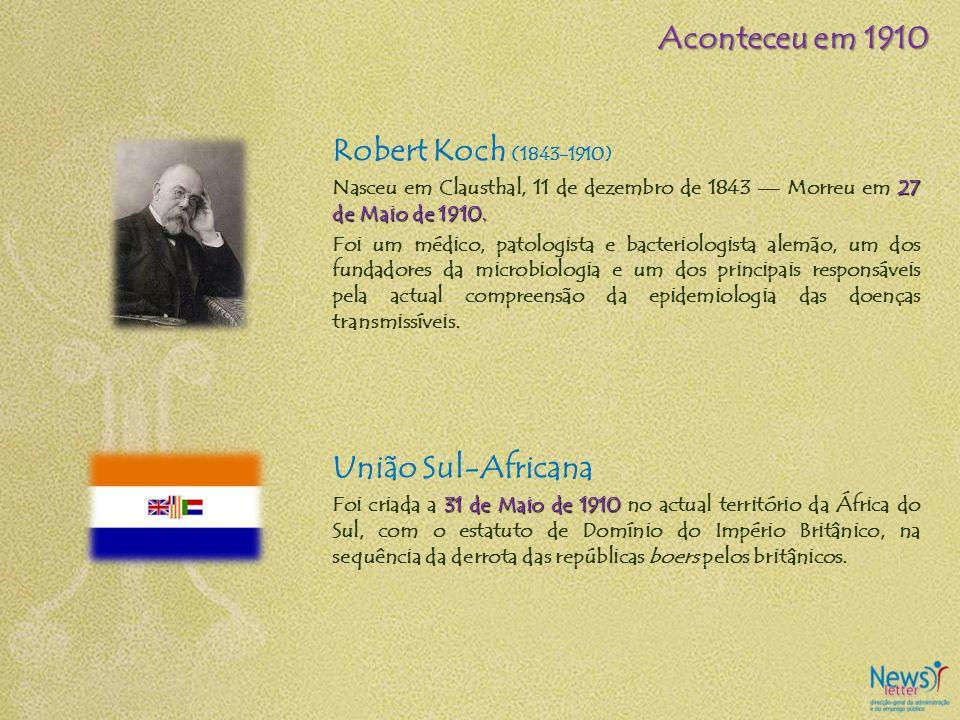 Robert Koch (1843-1910) 27 de Maio de 1910. Nasceu em Clausthal, 11 de dezembro de 1843 Morreu em 27 de Maio de 1910. Foi um médico, patologista e bac