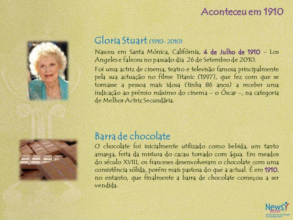 Gloria Stuart (1910- 2010) 4 de Julho de 1910 Nasceu em Santa Mónica, Califórnia, 4 de Julho de 1910 - Los Angeles e faleceu no passado dia 26 de Sete