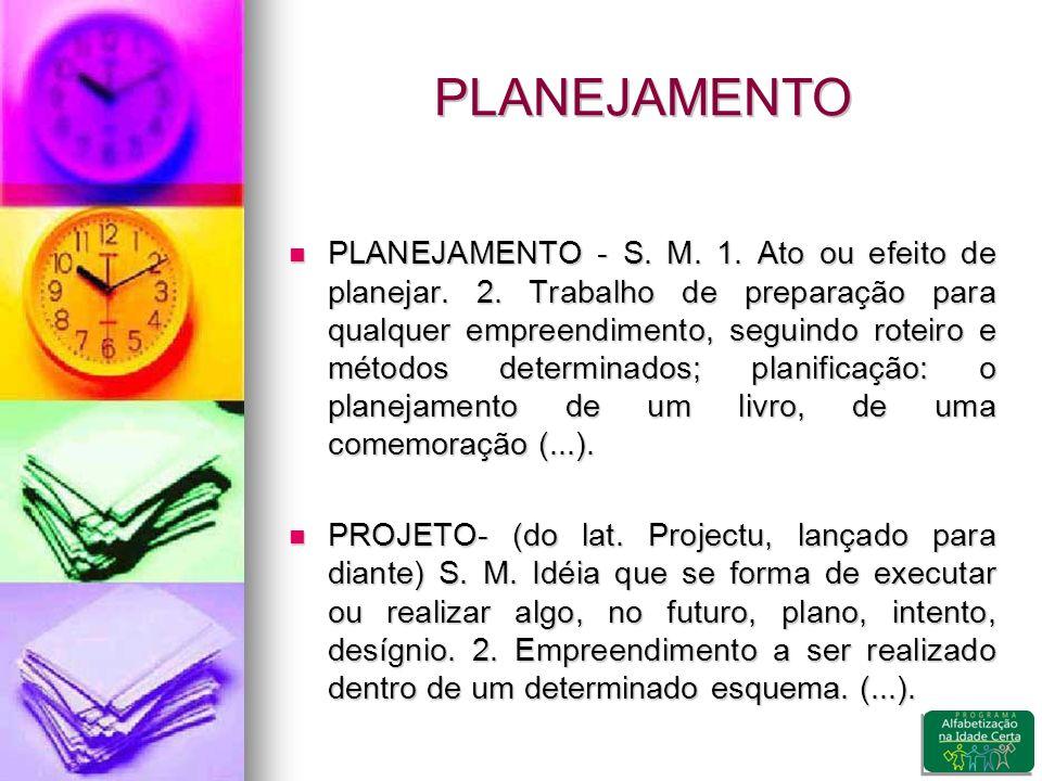 PLANEJAMENTO PLANEJAMENTO - S.M. 1. Ato ou efeito de planejar.