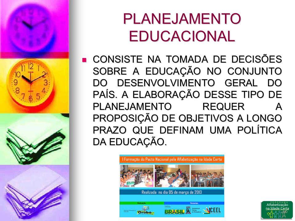 PLANEJAMENTO EDUCACIONAL CONSISTE NA TOMADA DE DECISÕES SOBRE A EDUCAÇÃO NO CONJUNTO DO DESENVOLVIMENTO GERAL DO PAÍS.