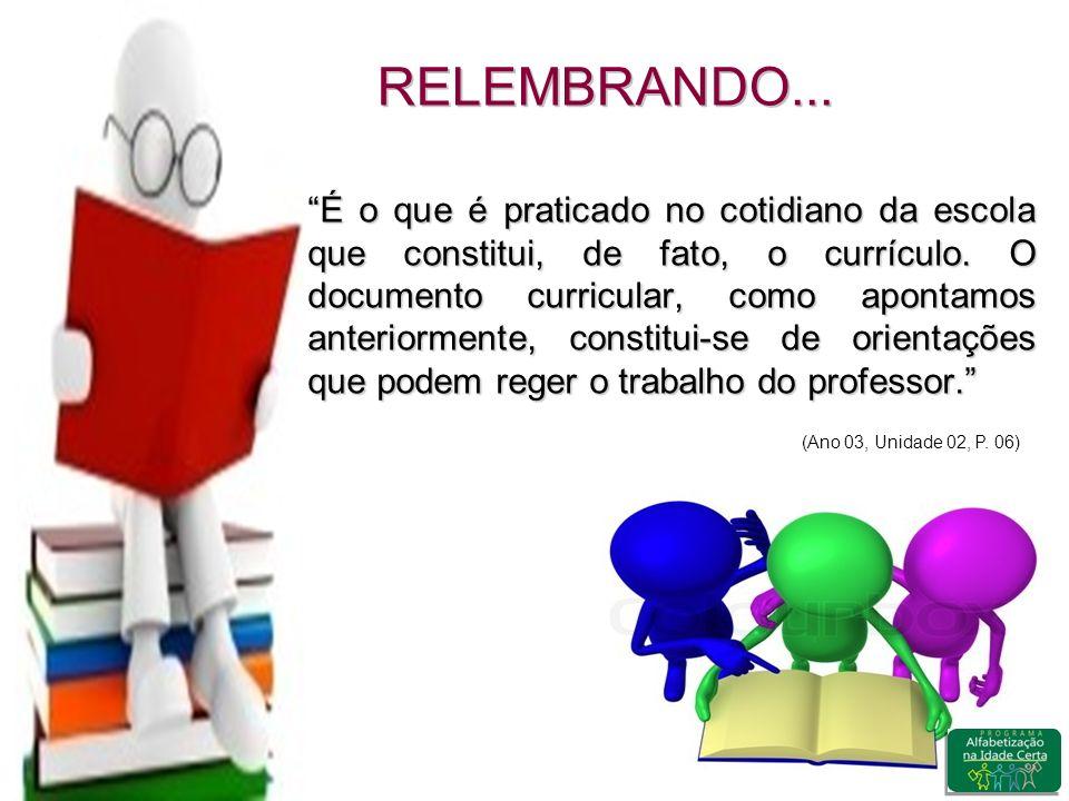 RELEMBRANDO...É o que é praticado no cotidiano da escola que constitui, de fato, o currículo.
