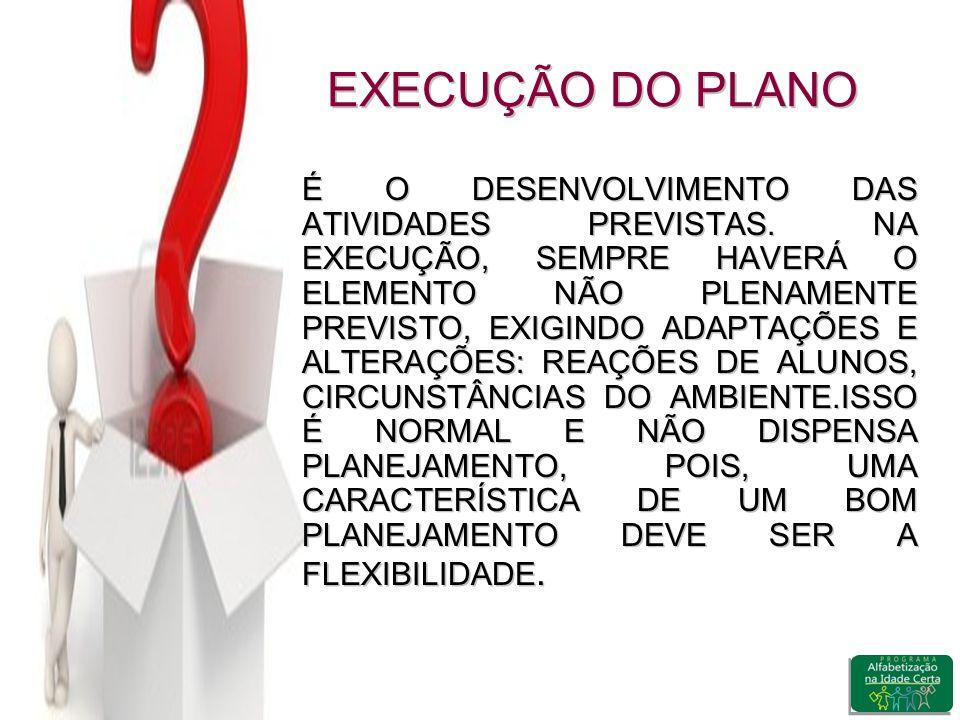 EXECUÇÃO DO PLANO É O DESENVOLVIMENTO DAS ATIVIDADES PREVISTAS.