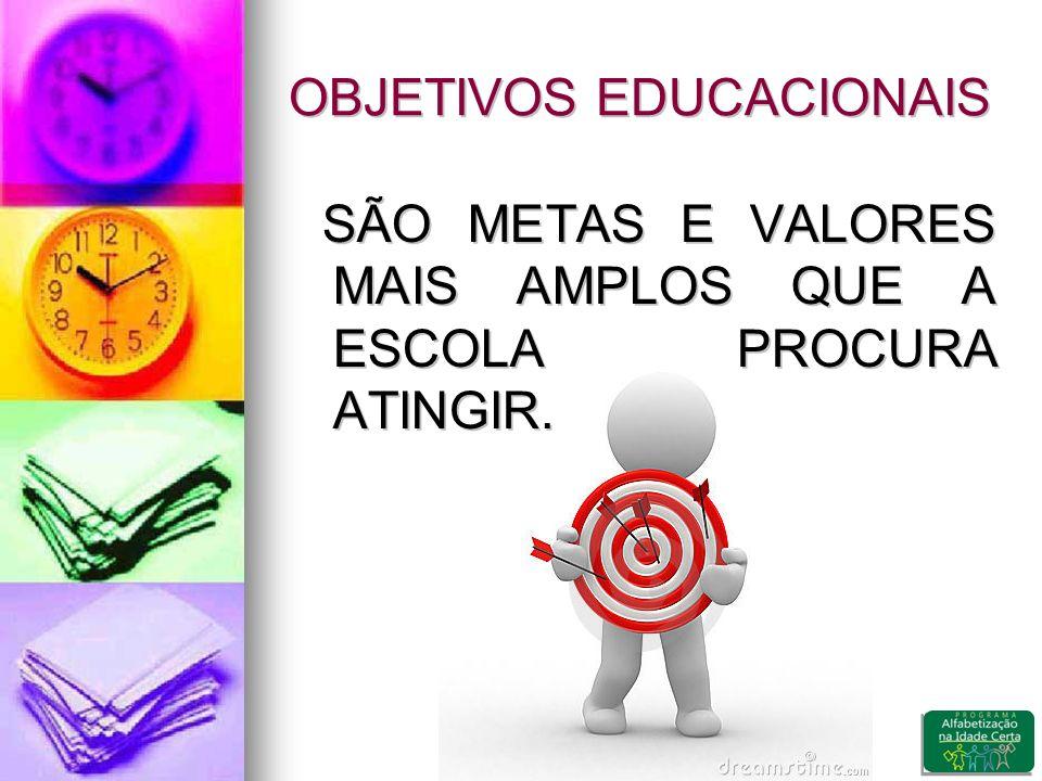 OBJETIVOS EDUCACIONAIS SÃO METAS E VALORES MAIS AMPLOS QUE A ESCOLA PROCURA ATINGIR.