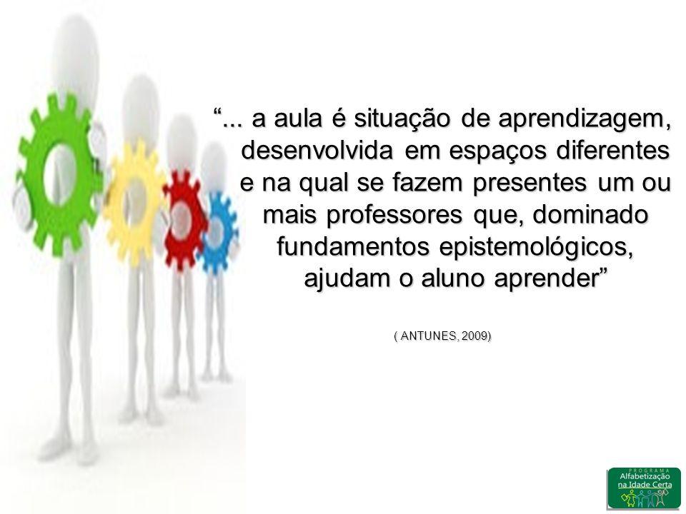 ... a aula é situação de aprendizagem, desenvolvida em espaços diferentes e na qual se fazem presentes um ou mais professores que, dominado fundamento