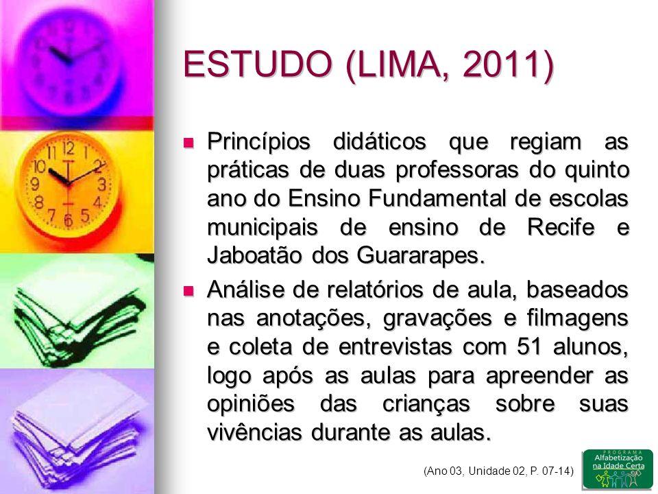 ESTUDO (LIMA, 2011) Princípios didáticos que regiam as práticas de duas professoras do quinto ano do Ensino Fundamental de escolas municipais de ensino de Recife e Jaboatão dos Guararapes.