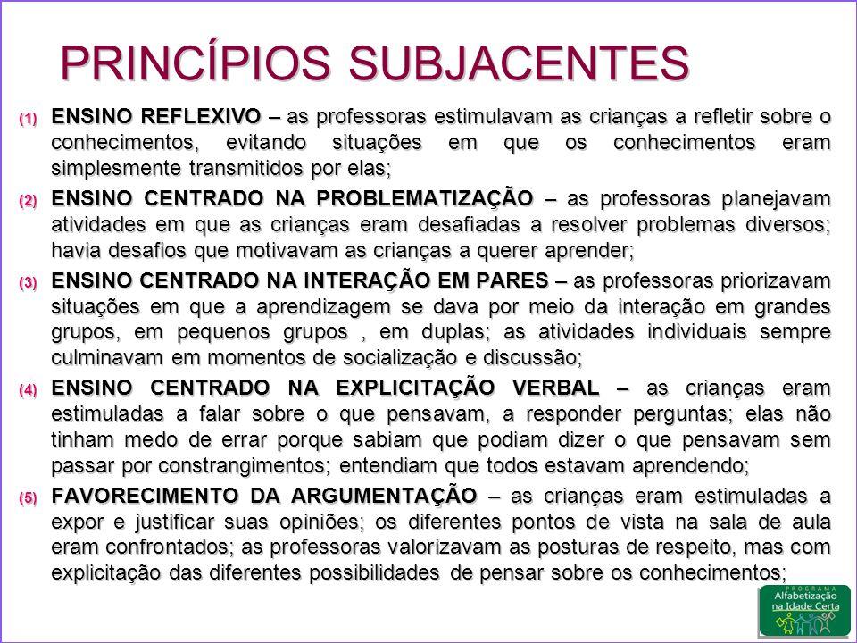 (1) ENSINO REFLEXIVO – as professoras estimulavam as crianças a refletir sobre o conhecimentos, evitando situações em que os conhecimentos eram simplesmente transmitidos por elas; (2) ENSINO CENTRADO NA PROBLEMATIZAÇÃO – as professoras planejavam atividades em que as crianças eram desafiadas a resolver problemas diversos; havia desafios que motivavam as crianças a querer aprender; (3) ENSINO CENTRADO NA INTERAÇÃO EM PARES – as professoras priorizavam situações em que a aprendizagem se dava por meio da interação em grandes grupos, em pequenos grupos, em duplas; as atividades individuais sempre culminavam em momentos de socialização e discussão; (4) ENSINO CENTRADO NA EXPLICITAÇÃO VERBAL – as crianças eram estimuladas a falar sobre o que pensavam, a responder perguntas; elas não tinham medo de errar porque sabiam que podiam dizer o que pensavam sem passar por constrangimentos; entendiam que todos estavam aprendendo; (5) FAVORECIMENTO DA ARGUMENTAÇÃO – as crianças eram estimuladas a expor e justificar suas opiniões; os diferentes pontos de vista na sala de aula eram confrontados; as professoras valorizavam as posturas de respeito, mas com explicitação das diferentes possibilidades de pensar sobre os conhecimentos; PRINCÍPIOS SUBJACENTES