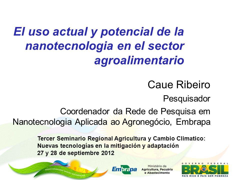 El uso actual y potencial de la nanotecnologia en el sector agroalimentario Caue Ribeiro Pesquisador Coordenador da Rede de Pesquisa em Nanotecnologia
