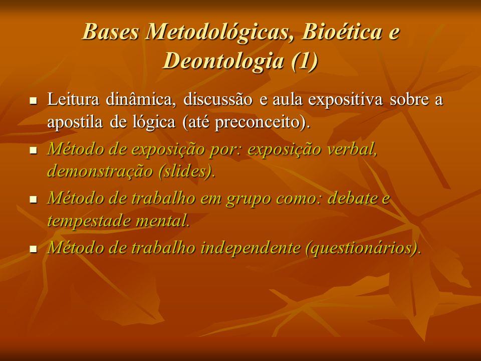 Bases Metodológicas, Bioética e Deontologia (1) Leitura dinâmica, discussão e aula expositiva sobre a apostila de lógica (até preconceito). Leitura di