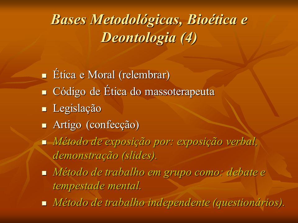 Bases Metodológicas, Bioética e Deontologia (4) Ética e Moral (relembrar) Ética e Moral (relembrar) Código de Ética do massoterapeuta Código de Ética