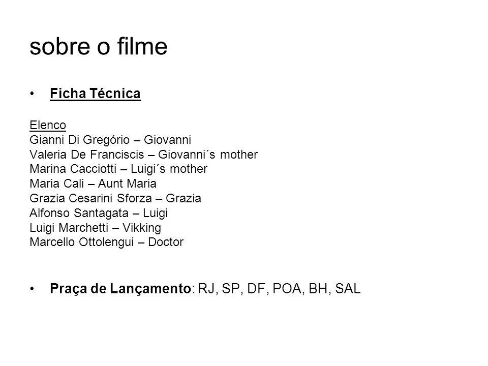 sobre o filme Ficha Técnica Elenco Gianni Di Gregório – Giovanni Valeria De Franciscis – Giovanni´s mother Marina Cacciotti – Luigi´s mother Maria Cal