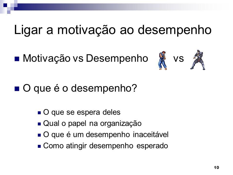 10 Ligar a motivação ao desempenho Motivação vs Desempenho vs O que é o desempenho? O que se espera deles Qual o papel na organização O que é um desem