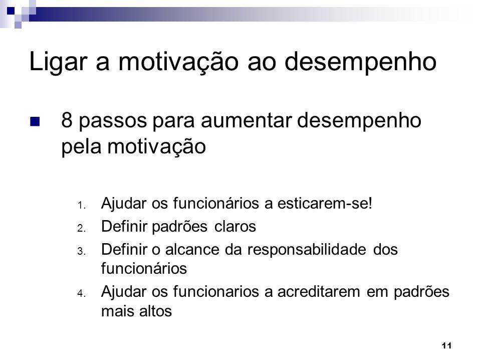 11 Ligar a motivação ao desempenho 8 passos para aumentar desempenho pela motivação 1. Ajudar os funcionários a esticarem-se! 2. Definir padrões claro