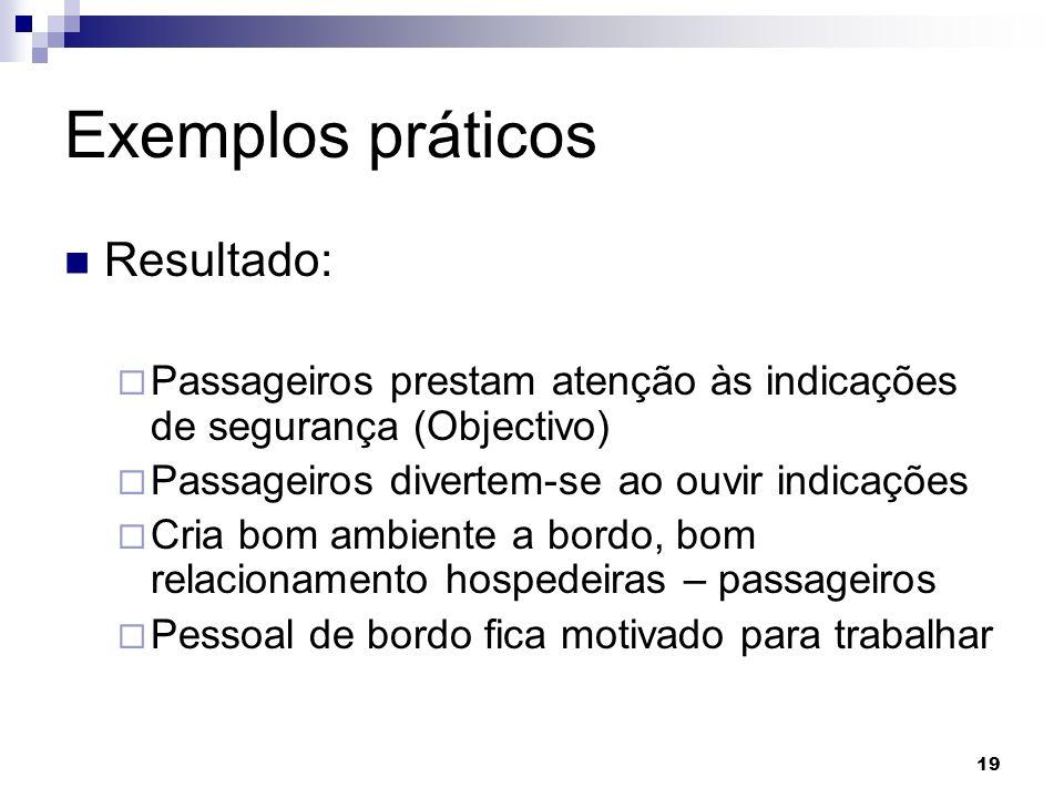 19 Exemplos práticos Resultado: Passageiros prestam atenção às indicações de segurança (Objectivo) Passageiros divertem-se ao ouvir indicações Cria bo