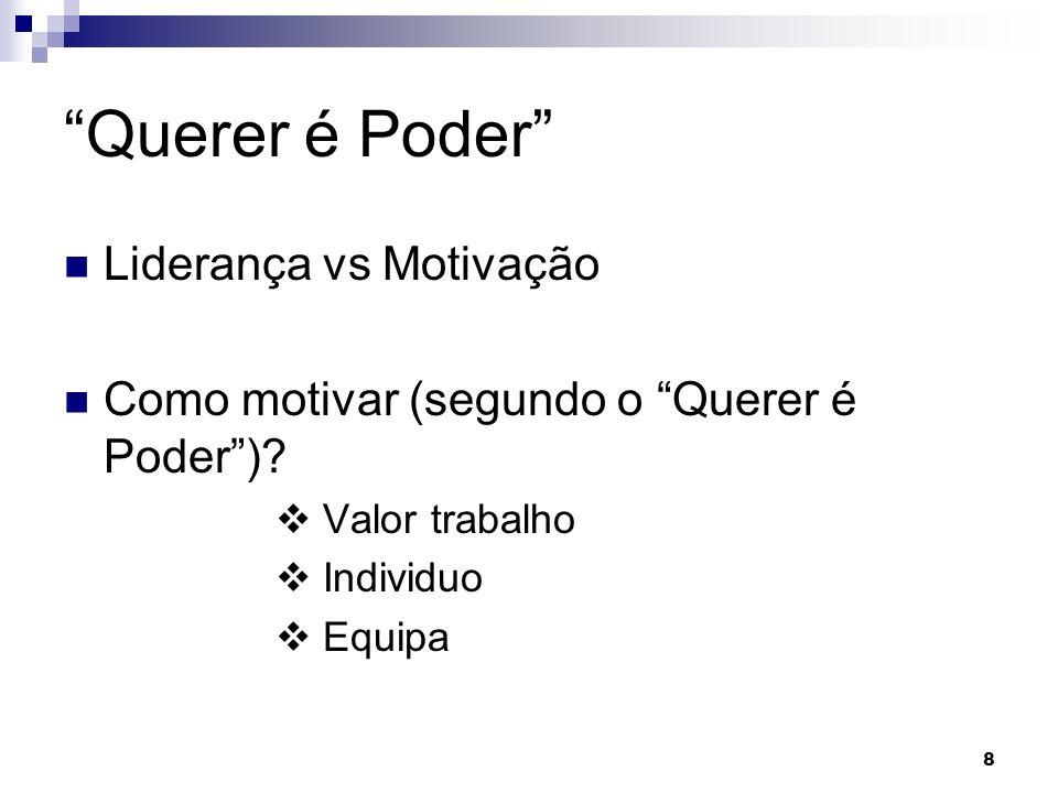 8 Querer é Poder Liderança vs Motivação Como motivar (segundo o Querer é Poder)? Valor trabalho Individuo Equipa