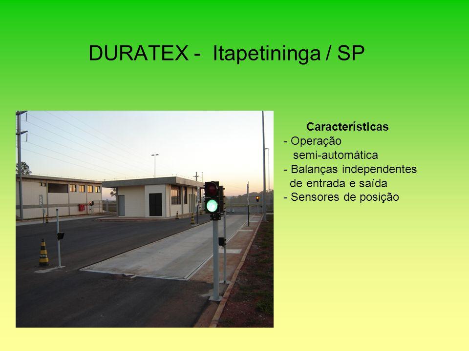 DURATEX - Itapetininga / SP Características - Operação semi-automática - Balanças independentes de entrada e saída - Sensores de posição