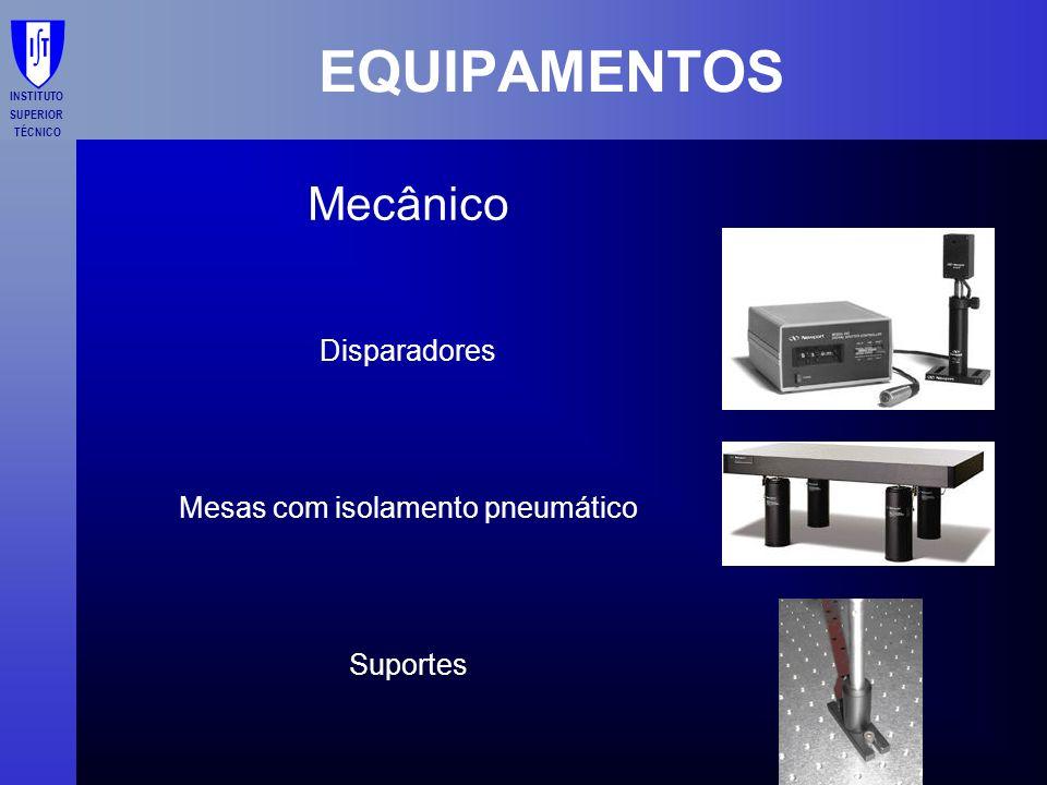 INSTITUTO SUPERIOR TÉCNICO EQUIPAMENTOS Mecânico Disparadores Mesas com isolamento pneumático Suportes
