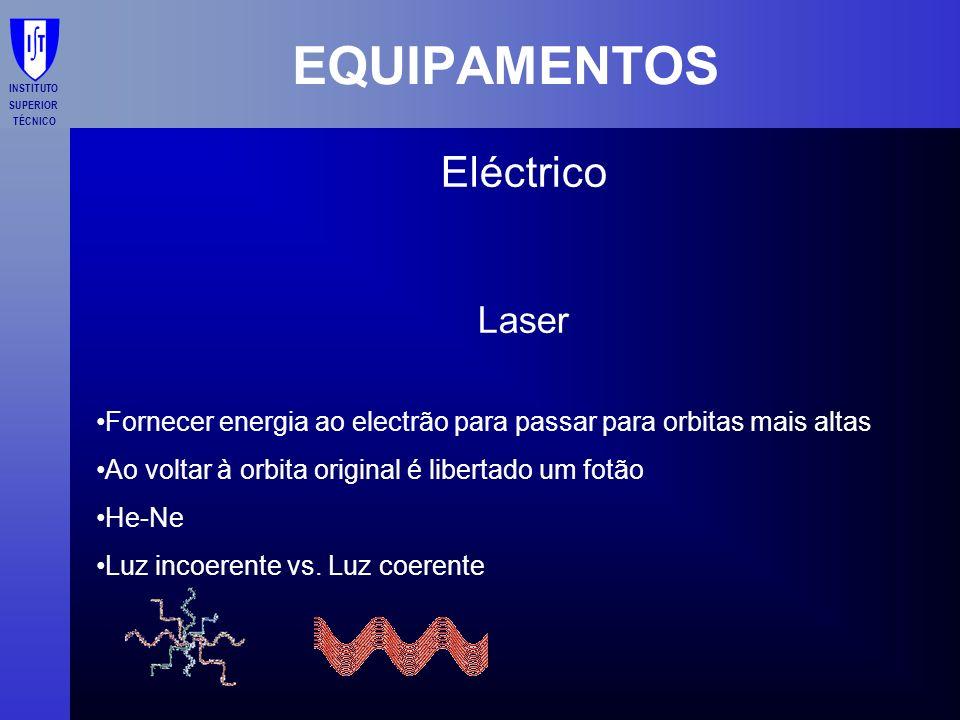 INSTITUTO SUPERIOR TÉCNICO EQUIPAMENTOS Eléctrico Laser Fornecer energia ao electrão para passar para orbitas mais altas Ao voltar à orbita original é