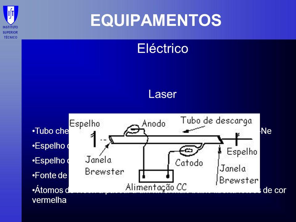 INSTITUTO SUPERIOR TÉCNICO EQUIPAMENTOS Eléctrico Laser Tubo cheio de uma mistura precisa de gás de dois gases, He-Ne Espelho com grande qualidade de
